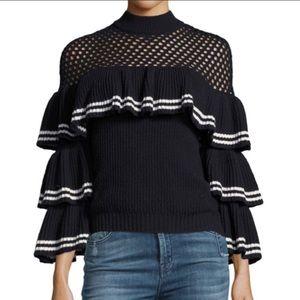 Self-portrait off shoulder knit ruffle sweater